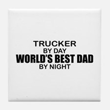 World's Best Dad - Trucker Tile Coaster