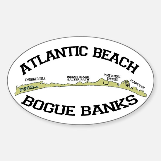 Atlantic Beach NC - Map Design Sticker (Oval)