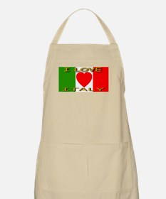 I Love Italy Heart Flag BBQ Apron