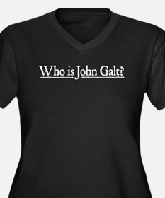 Who is John Galt? Women's Plus Size V-Neck Dark T-