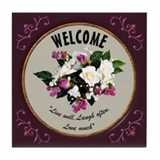 Welcome Tile Coaster - Roses/Wine Border