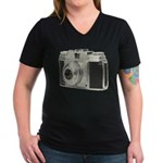 Vintage Camera Women's V-Neck Dark T-Shirt