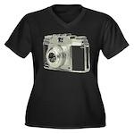 Vintage Camera Women's Plus Size V-Neck Dark T-Shi
