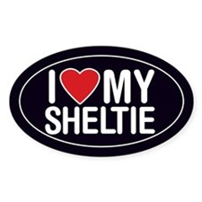 I Love My Sheltie (Shetland Sheepdog) Oval Decal