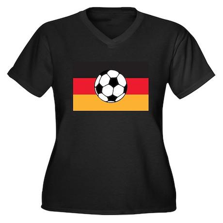 Germany Soccer Women's Plus Size V-Neck Dark T-Shi