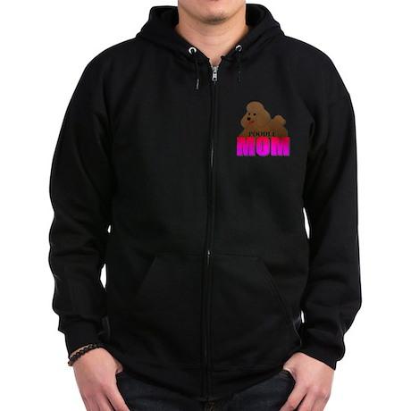 Brown Poodle Mom Zip Hoodie (dark)
