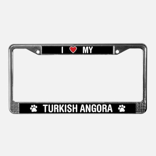 I Love My Turkish Angora Cat License Plate Frame