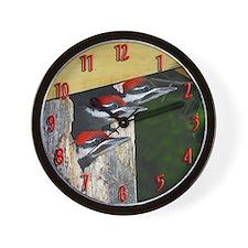 3 Pileated Woodpecker babies Wall Clock