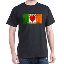 I Love Ireland Heart Flag Black T-Shirt