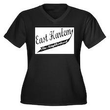 East Harlem Women's Plus Size V-Neck Dark T-Shirt