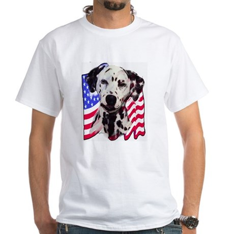 Dalmatian with Flag White T-Shirt