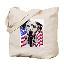 Dalmatian with Flag Tote Bag