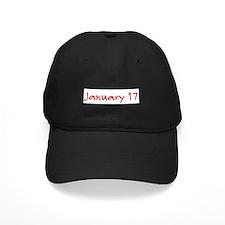"""January 17"" printed on a Baseball Hat"