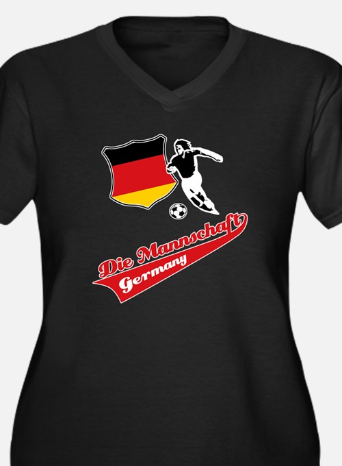 German soccer Women's Plus Size V-Neck Dark T-Shir