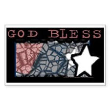 God Bless Flag Sticker (Rectangle)