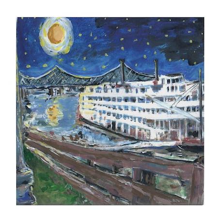 Mississippi River Boat Tile Coaster