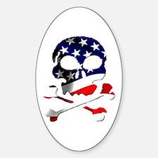 4th of July Skull Sticker (Oval)