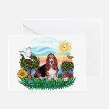 Happy Day Basset Greeting Card