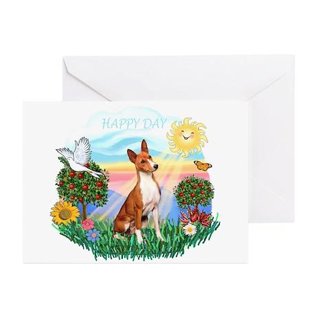 Happy Day Basenji Greeting Cards (Pk of 10)