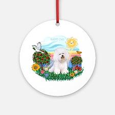 Happy Day Bichon Frise Ornament (Round)