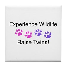 Experience Wildlife Raise Twins Tile Coaster
