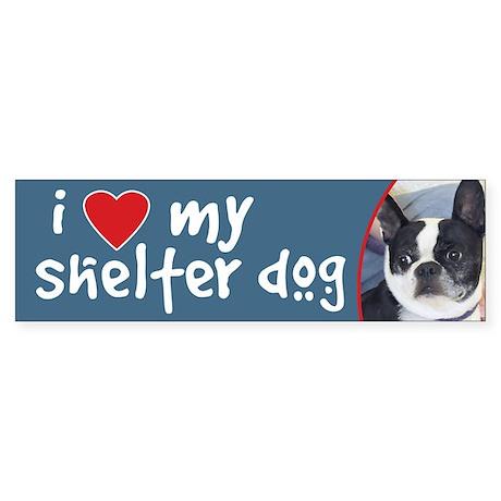 ILove My Shelter Dog Boston Terrier Bumper Sticker