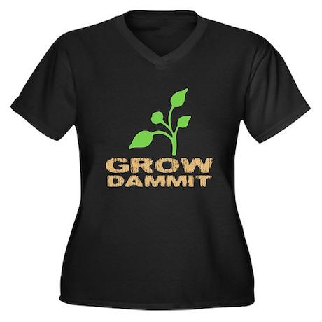 Grow Dammit Women's Plus Size V-Neck Dark T-Shirt