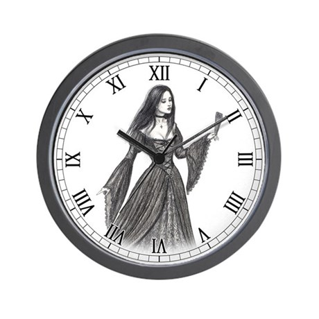 Gothic Lady with Fan Wall Clock