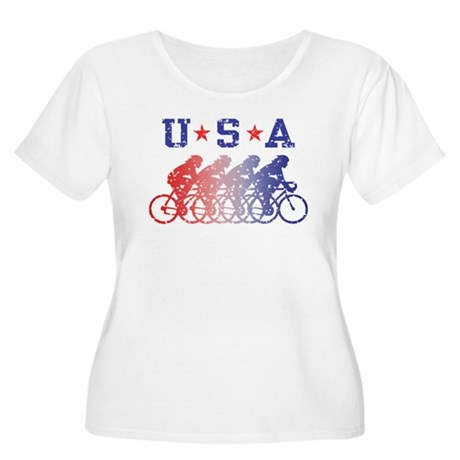 USA Cycling Female Women's Plus Size Scoop Neck T-