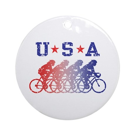 USA Cycling Female Ornament (Round)