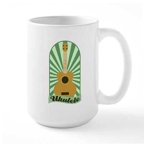 Green Sunburst Ukulele Large Coffee Mug