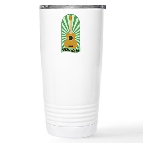 Green Sunburst Ukulele Stainless Steel Travel Mug