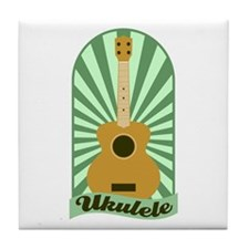 Green Sunburst Ukulele Tile Coaster