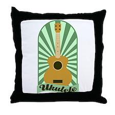 Green Sunburst Ukulele Throw Pillow