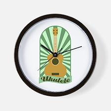 Green Sunburst Ukulele Wall Clock