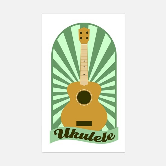 Green Sunburst Ukulele Sticker (Rectangle)