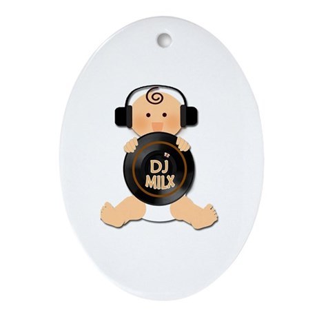 Baby DJ with Headphones Ornament (Oval)