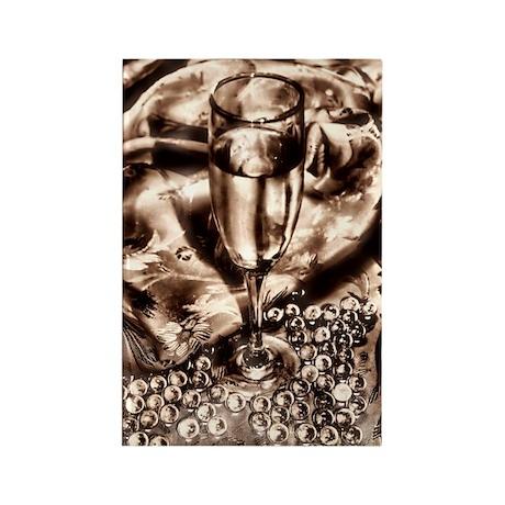 Vintage Champange Flute Marbles Rectangle Magnet