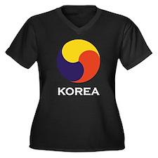 Sam-Taegeuk Korea Women's Plus Size V-Neck Dark T-