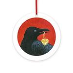 Valentine Crow Ornament (Round)