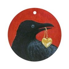 Valentine Crow Ornament (Round)