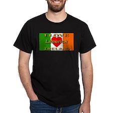 I Love Limerick Ireland Heart Black T-Shirt