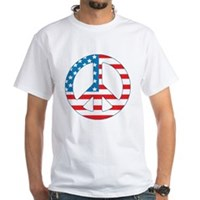 4th July Peace White T-Shirt