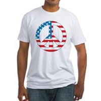 4th July Peace Fitted T-Shirt