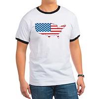 America Flag 4th July Ringer T