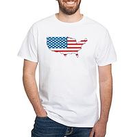 America Flag 4th July White T-Shirt