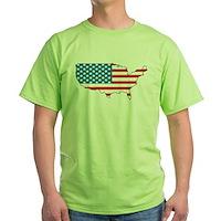 America Flag 4th July Green T-Shirt