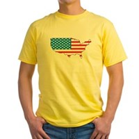 America Flag 4th July Yellow T-Shirt