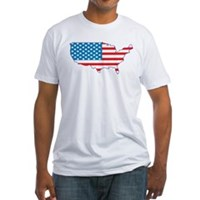 America Flag 4th July Fitted T-Shirt