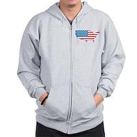 America Flag 4th July Zip Hoodie